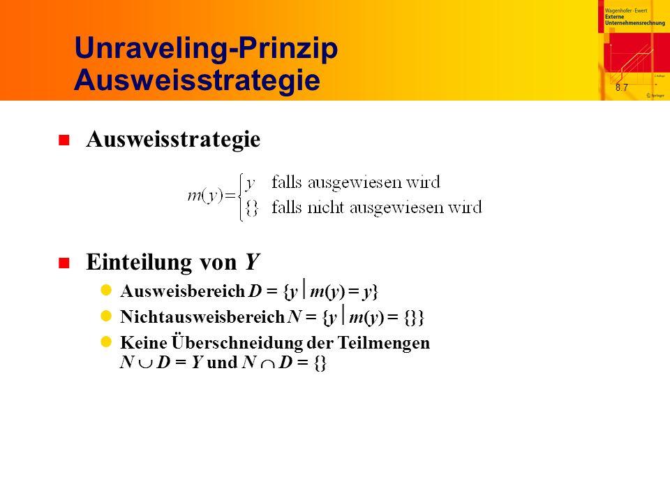 8.7 Unraveling-Prinzip Ausweisstrategie n Ausweisstrategie n Einteilung von Y Ausweisbereich D = {y m(y) = y} Nichtausweisbereich N = {y m(y) = {}} Keine Überschneidung der Teilmengen N D = Y und N D = {}