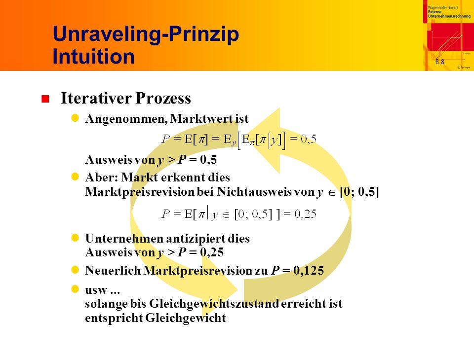 8.8 Unraveling-Prinzip Intuition n Iterativer Prozess Angenommen, Marktwert ist Ausweis von y > P = 0,5 Aber: Markt erkennt dies Marktpreisrevision bei Nichtausweis von y [0; 0,5] Unternehmen antizipiert dies Ausweis von y > P = 0,25 Neuerlich Marktpreisrevision zu P = 0,125 usw...