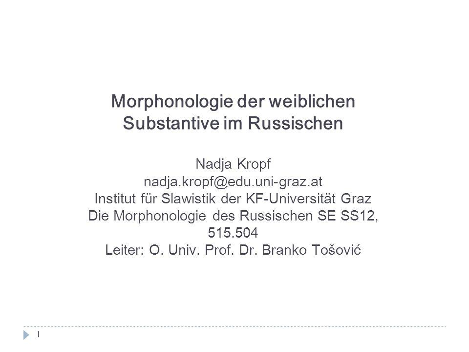 Morphonologie der weiblichen Substantive im Russischen Nadja Kropf nadja.kropf@edu.uni-graz.at Institut für Slawistik der KF-Universität Graz Die Morp