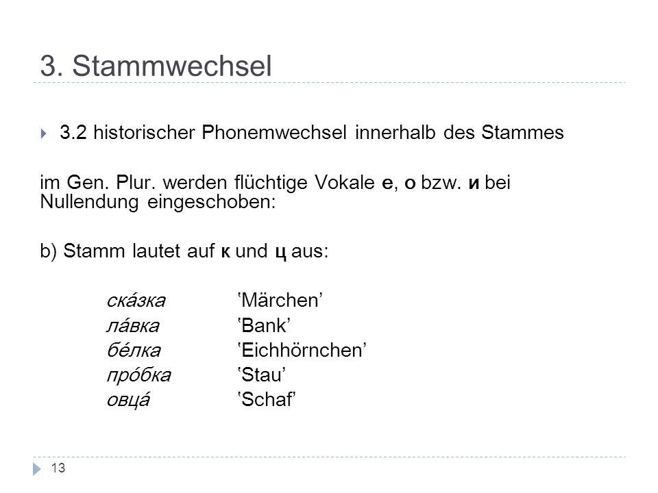 3. Stammwechsel 3.2 historischer Phonemwechsel innerhalb des Stammes im Gen. Plur. werden flüchtige Vokale е, о bzw. и bei Nullendung eingeschoben: b)