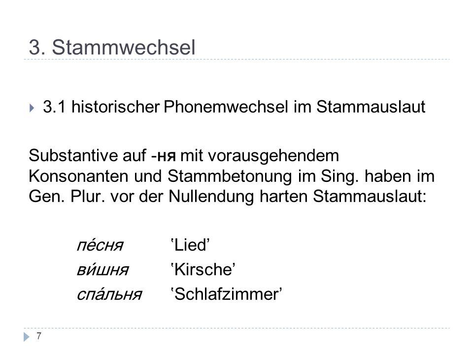3. Stammwechsel 3.1 historischer Phonemwechsel im Stammauslaut Substantive auf -ня mit vorausgehendem Konsonanten und Stammbetonung im Sing. haben im