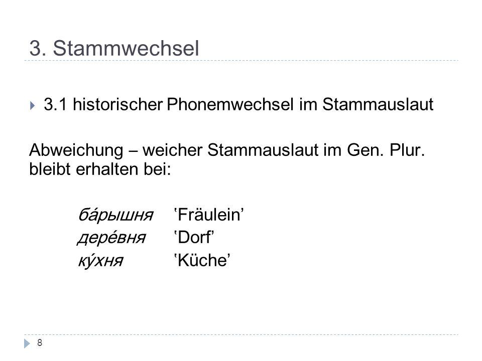 3. Stammwechsel 3.1 historischer Phonemwechsel im Stammauslaut Abweichung – weicher Stammauslaut im Gen. Plur. bleibt erhalten bei: барышня Fräulein'