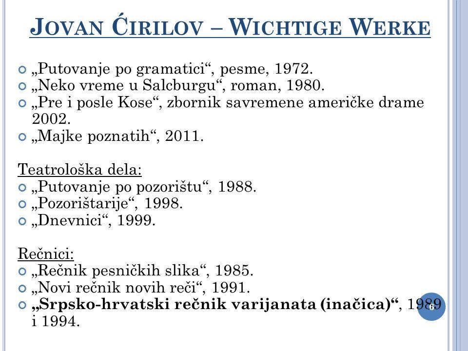 4.Wort oder Form, die/das typischer für die serbische als für die kroatische Literatursprache ist.