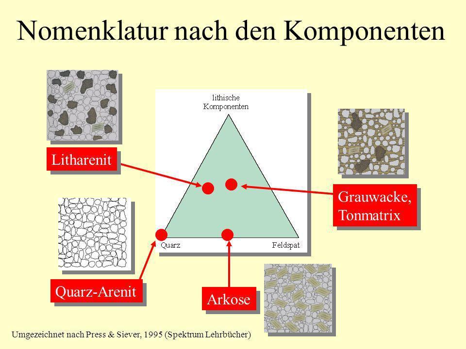 Nomenklatur nach den Komponenten Quarz-Arenit Arkose Litharenit Grauwacke, Tonmatrix Grauwacke, Tonmatrix Umgezeichnet nach Press & Siever, 1995 (Spek