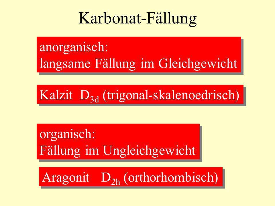 Karbonat-Fällung anorganisch: langsame Fällung im Gleichgewicht anorganisch: langsame Fällung im Gleichgewicht Kalzit D 3d (trigonal-skalenoedrisch) o