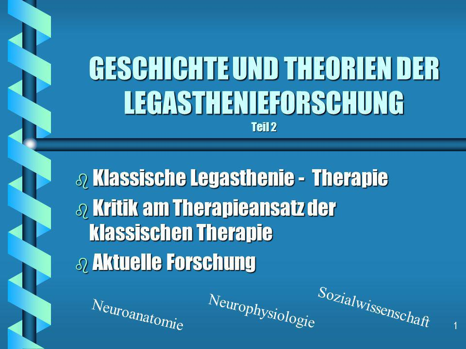 1 GESCHICHTE UND THEORIEN DER LEGASTHENIEFORSCHUNG Teil 2 b Klassische Legasthenie - Therapie b Kritik am Therapieansatz der klassischen Therapie b Ak