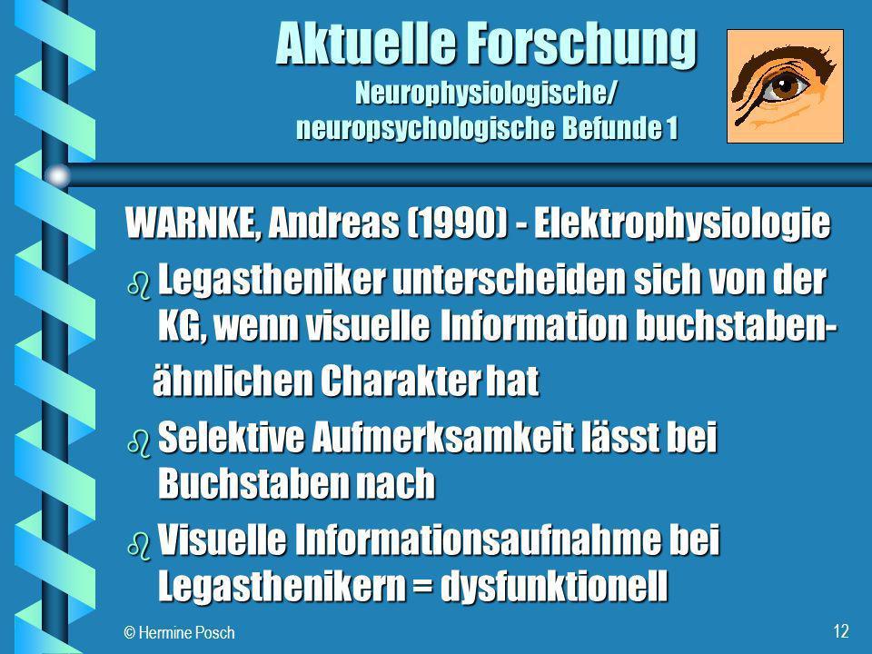 © Hermine Posch 12 Aktuelle Forschung Neurophysiologische/ neuropsychologische Befunde 1 WARNKE, Andreas (1990) - Elektrophysiologie b Legastheniker u