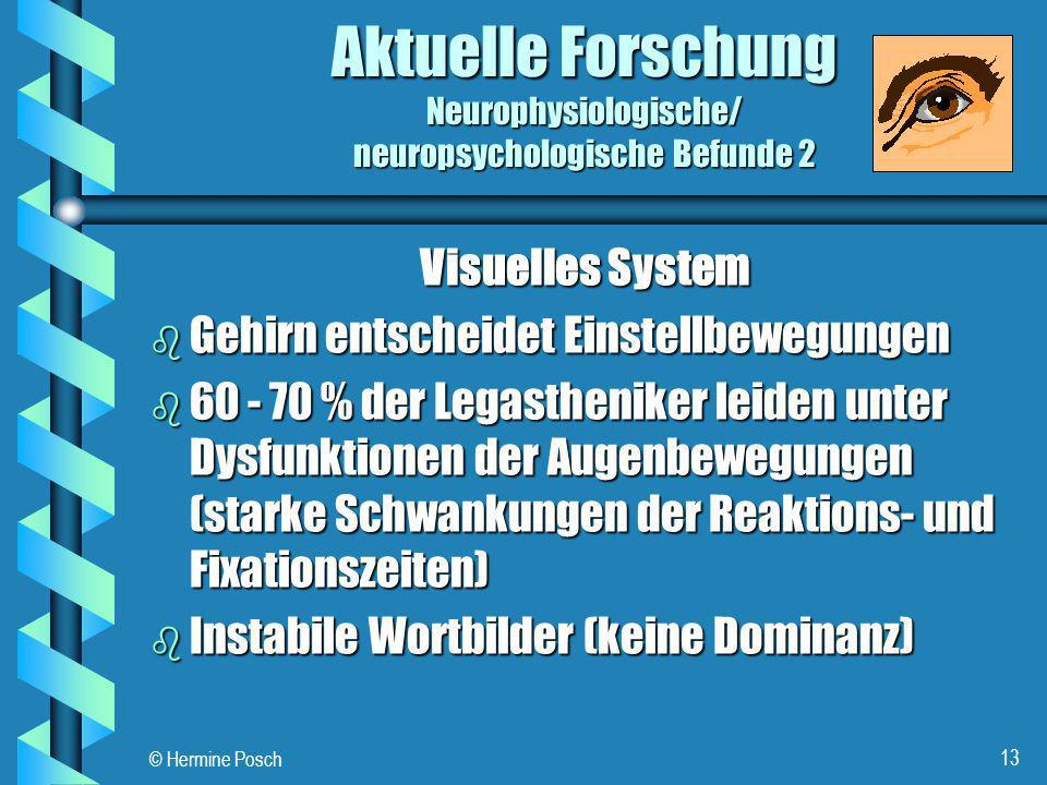 © Hermine Posch 13 Aktuelle Forschung Neurophysiologische/ neuropsychologische Befunde 2 Visuelles System b Gehirn entscheidet Einstellbewegungen b 60
