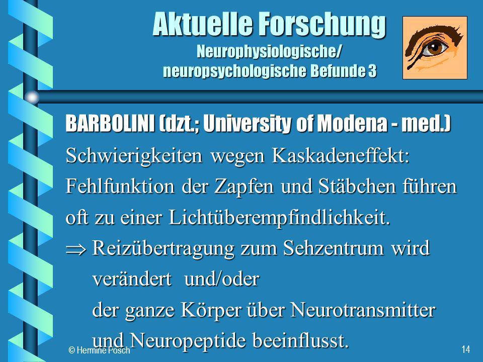 © Hermine Posch 14 Aktuelle Forschung Neurophysiologische/ neuropsychologische Befunde 3 BARBOLINI (dzt.; University of Modena - med.) Schwierigkeiten