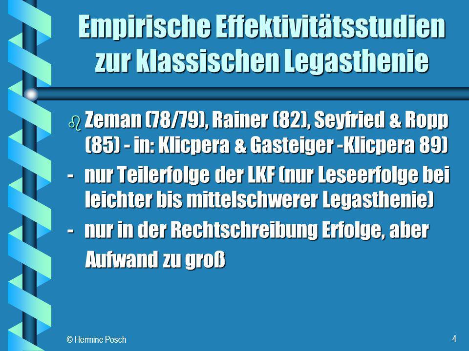 © Hermine Posch 4 Empirische Effektivitätsstudien zur klassischen Legasthenie b Zeman (78/79), Rainer (82), Seyfried & Ropp (85) - in: Klicpera & Gast