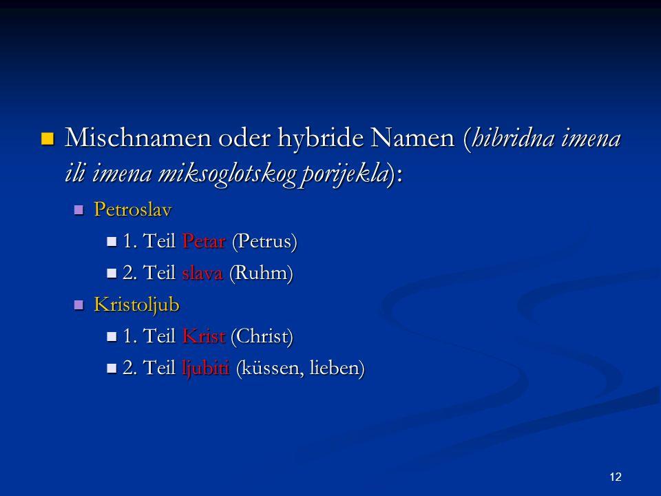 12 Mischnamen oder hybride Namen (hibridna imena ili imena miksoglotskog porijekla): Mischnamen oder hybride Namen (hibridna imena ili imena miksoglot