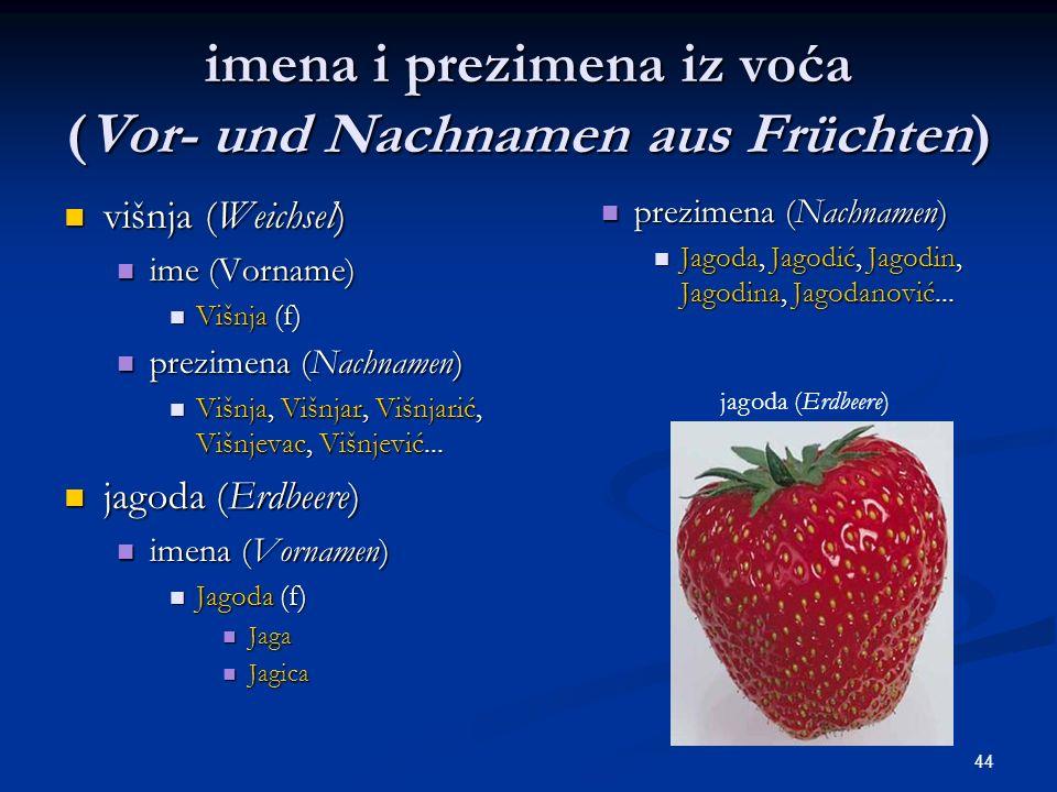 44 imena i prezimena iz voća (Vor- und Nachnamen aus Früchten) višnja (Weichsel) višnja (Weichsel) ime (Vorname) ime (Vorname) Višnja (f) Višnja (f) p