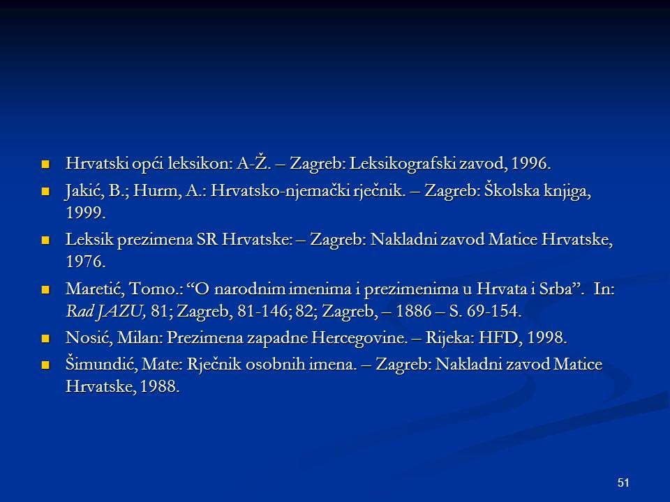 51 Hrvatski opći leksikon: A-Ž. – Zagreb: Leksikografski zavod, 1996. Hrvatski opći leksikon: A-Ž. – Zagreb: Leksikografski zavod, 1996. Jakić, B.; Hu