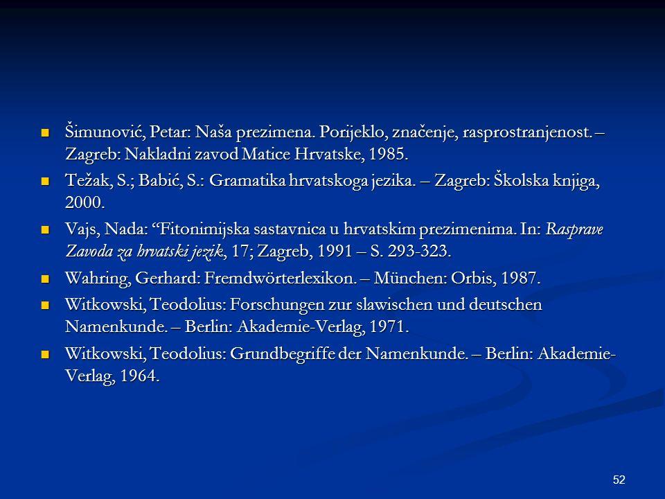 52 Šimunović, Petar: Naša prezimena. Porijeklo, značenje, rasprostranjenost. – Zagreb: Nakladni zavod Matice Hrvatske, 1985. Šimunović, Petar: Naša pr