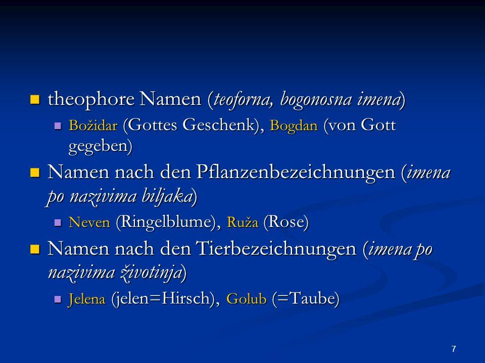 8 Geburt und Geburtreihenfolge (rođenje i redoslijed) Geburt und Geburtreihenfolge (rođenje i redoslijed) Rođena (die Geborene), Devetak (devet=neun) Rođena (die Geborene), Devetak (devet=neun) Charaktereigenschaften (osobine naravi) Charaktereigenschaften (osobine naravi) Mila (lieb), Tihana (tih=leise) Mila (lieb), Tihana (tih=leise) Mut und Kamplust (hrabrost i borbenost) Mut und Kamplust (hrabrost i borbenost) Branimir (braniti=verteidigen, mir=Friede) Branimir (braniti=verteidigen, mir=Friede) geographische Motive (zemljopisni motivi) geographische Motive (zemljopisni motivi) Ozren, Drina Ozren, Drina