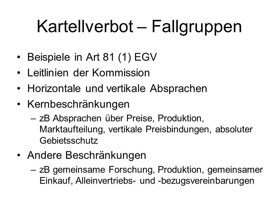 Kartellverbot – Fallgruppen Beispiele in Art 81 (1) EGV Leitlinien der Kommission Horizontale und vertikale Absprachen Kernbeschränkungen –zB Absprach