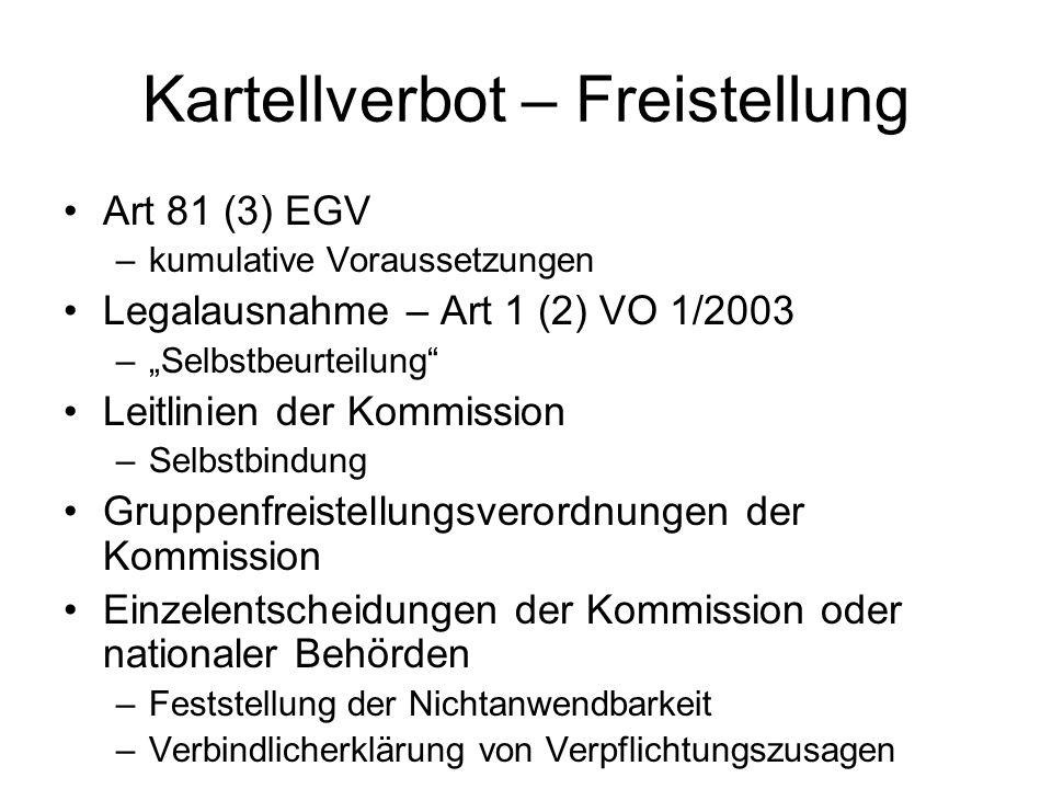 Kartellverbot – Freistellung Art 81 (3) EGV –kumulative Voraussetzungen Legalausnahme – Art 1 (2) VO 1/2003 –Selbstbeurteilung Leitlinien der Kommissi