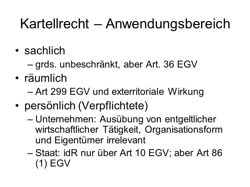 Kartellrecht – Anwendungsbereich sachlich –grds. unbeschränkt, aber Art. 36 EGV räumlich –Art 299 EGV und exterritoriale Wirkung persönlich (Verpflich