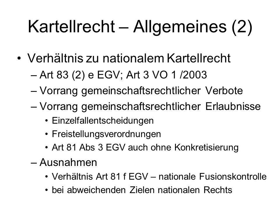 Kartellrecht – Allgemeines (2) Verhältnis zu nationalem Kartellrecht –Art 83 (2) e EGV; Art 3 VO 1 /2003 –Vorrang gemeinschaftsrechtlicher Verbote –Vo