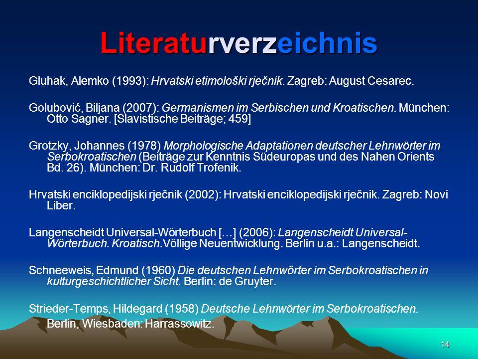 14 Literaturverzeichnis Gluhak, Alemko (1993): Hrvatski etimološki rječnik. Zagreb: August Cesarec. Golubović, Biljana (2007): Germanismen im Serbisch