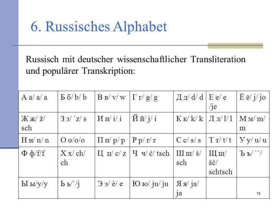 14 6. Russisches Alphabet А а/ a/ aБ б/ b/ bB в/ v/ wГ г/ g/ gД д/ d/ dЕ е/ e /je Ё ё/ j/ jo Ж ж/ ž/ sch З з/ ´z/ sИ и/ i/ iЙ й/ j/ iК к/ k/ kЛ л/ l/