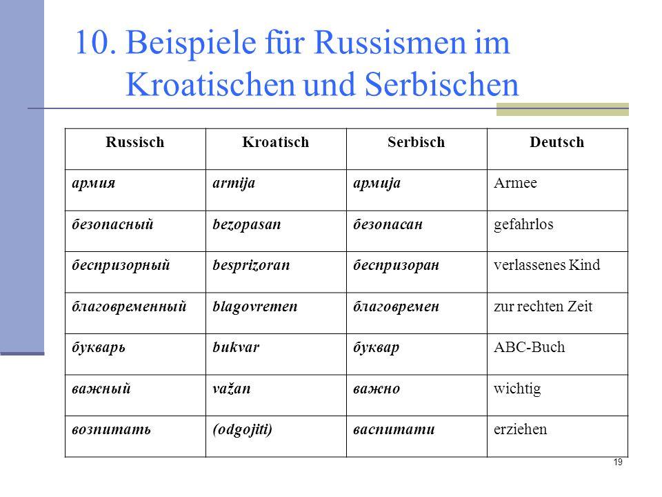 19 10. Beispiele für Russismen im Kroatischen und Serbischen RussischKroatischSerbischDeutsch армияarmijaармијаArmee безопасныйbezopasanбезопасанgefah