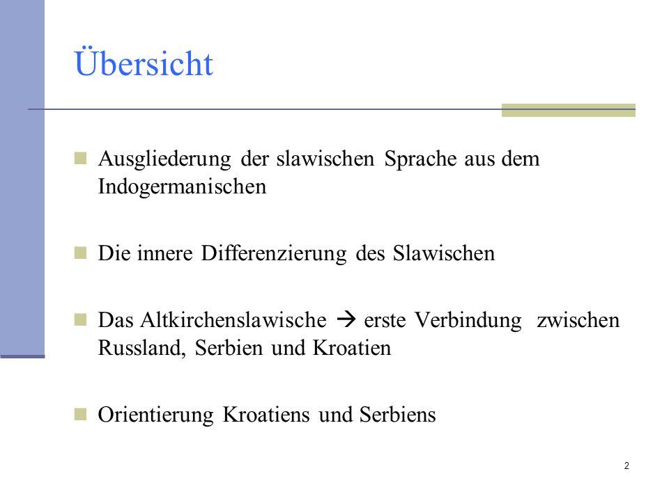 2 Übersicht Ausgliederung der slawischen Sprache aus dem Indogermanischen Die innere Differenzierung des Slawischen Das Altkirchenslawische erste Verb