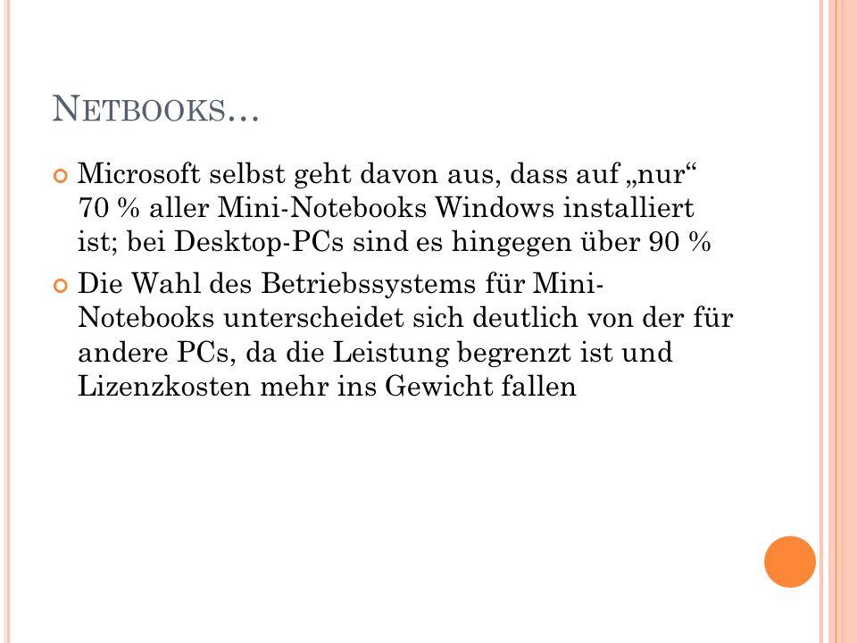 N ETBOOKS … Microsoft selbst geht davon aus, dass auf nur 70 % aller Mini-Notebooks Windows installiert ist; bei Desktop-PCs sind es hingegen über 90 % Die Wahl des Betriebssystems für Mini- Notebooks unterscheidet sich deutlich von der für andere PCs, da die Leistung begrenzt ist und Lizenzkosten mehr ins Gewicht fallen