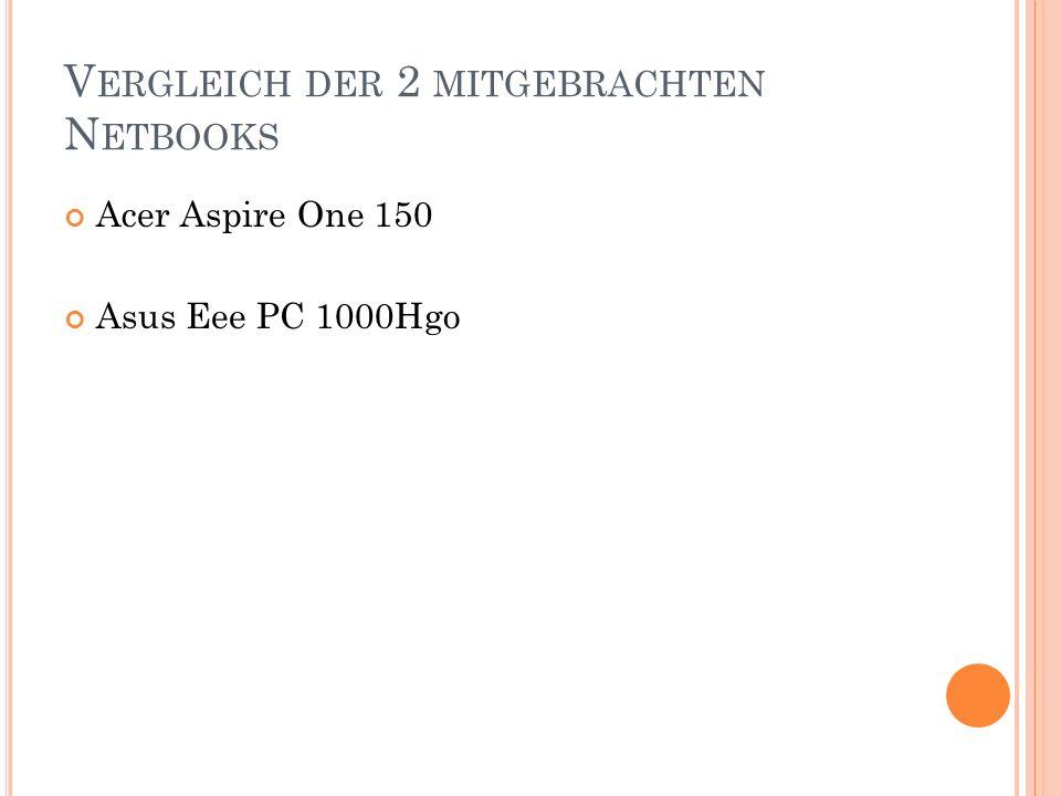 V ERGLEICH DER 2 MITGEBRACHTEN N ETBOOKS Acer Aspire One 150 Asus Eee PC 1000Hgo