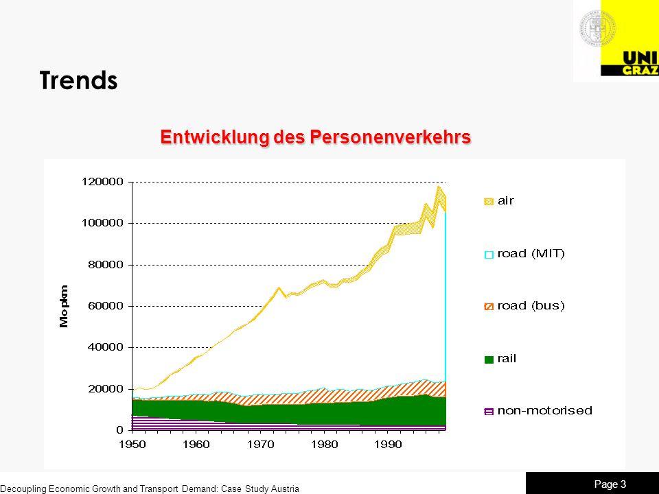 Decoupling Economic Growth and Transport Demand: Case Study Austria Page 4 Trends Entwicklung des Güterverkehrs