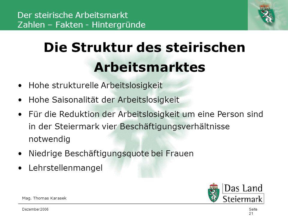 Autor Der steirische Arbeitsmarkt Zahlen – Fakten - Hintergründe Mag. Thomas Karasek Seite 21 Dezember 2006 Die Struktur des steirischen Arbeitsmarkte
