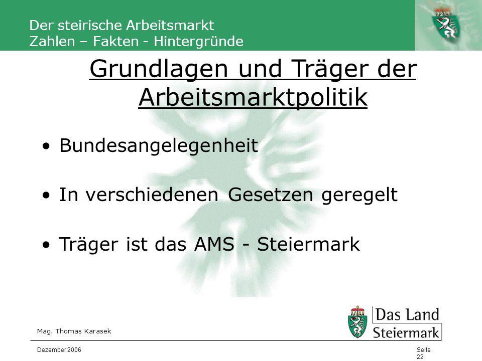 Autor Der steirische Arbeitsmarkt Zahlen – Fakten - Hintergründe Mag. Thomas Karasek Seite 22 Dezember 2006 Bundesangelegenheit In verschiedenen Geset
