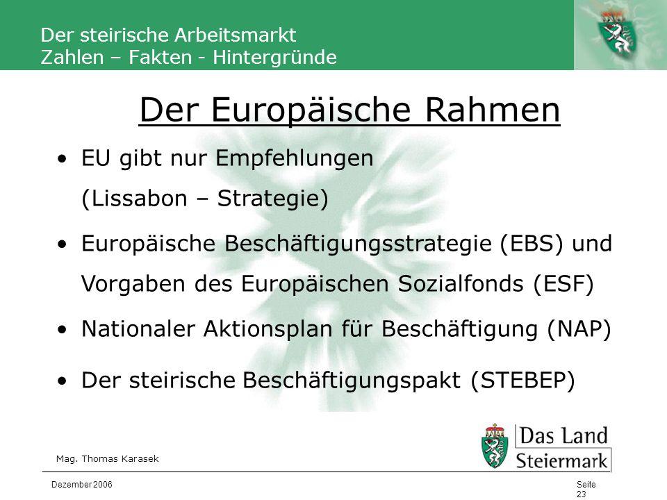 Autor Der steirische Arbeitsmarkt Zahlen – Fakten - Hintergründe Mag. Thomas Karasek Seite 23 Dezember 2006 EU gibt nur Empfehlungen (Lissabon – Strat