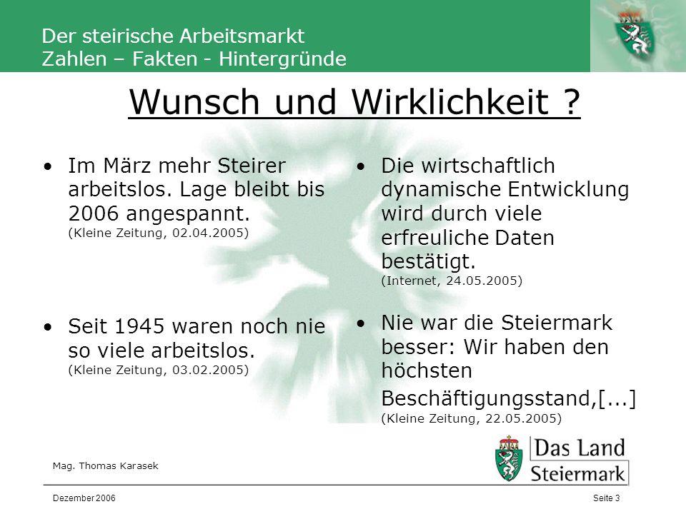 Autor Der steirische Arbeitsmarkt Zahlen – Fakten - Hintergründe Mag. Thomas Karasek Seite 3Dezember 2006 Im März mehr Steirer arbeitslos. Lage bleibt