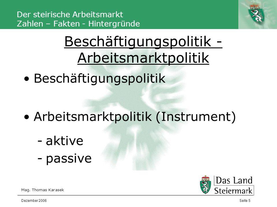 Autor Der steirische Arbeitsmarkt Zahlen – Fakten - Hintergründe Mag.