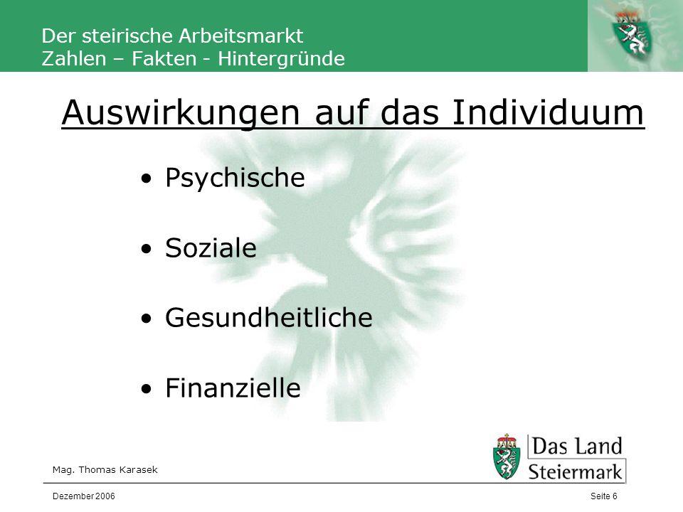 Autor Der steirische Arbeitsmarkt Zahlen – Fakten - Hintergründe Mag. Thomas Karasek Seite 6Dezember 2006 Psychische Soziale Gesundheitliche Finanziel