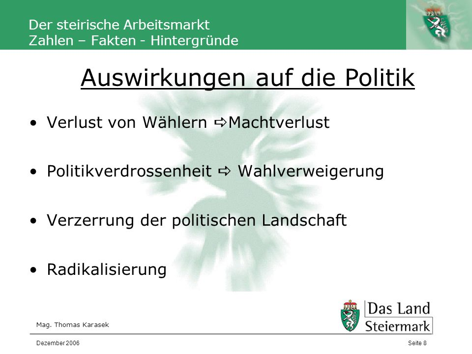 Autor Der steirische Arbeitsmarkt Zahlen – Fakten - Hintergründe Statistisches Jahrbuch – Statistik Austria http://www.statistik.at/jahrbuch_2005/deutsch/start.shtml IV-Steiermark http://www.iv-steiermark.at/ WK-Steiermark http://portal.wko.at/wk/startseite_dst.wk?Angid=1&DstID=677 EUROSTAT http://epp.eurostat.ec.europa.eu/portal/page?_pageid=1090,30070682,1 090_33076576&_dad=portal&_schema=PORTAL Kirisits, M.: Schein und Sein der neuen Arbeitswelt.