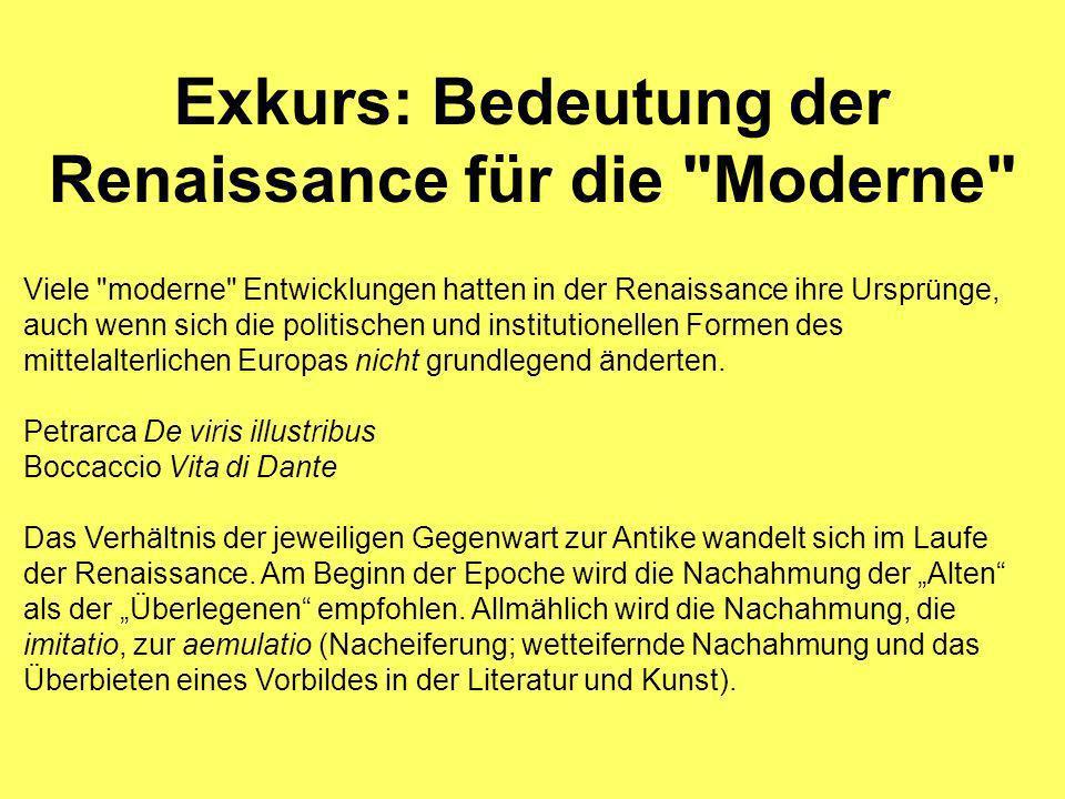 Exkurs: Bedeutung der Renaissance für die Moderne Viele moderne Entwicklungen hatten in der Renaissance ihre Ursprünge, auch wenn sich die politischen und institutionellen Formen des mittelalterlichen Europas nicht grundlegend änderten.