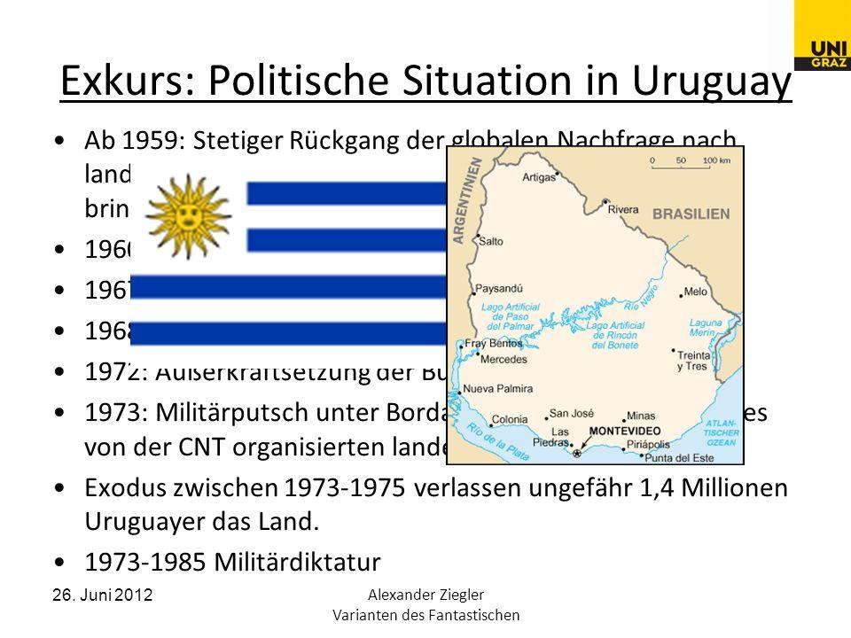 26. Juni 2012Alexander Ziegler Varianten des Fantastischen Exkurs: Politische Situation in Uruguay Ab 1959: Stetiger Rückgang der globalen Nachfrage n