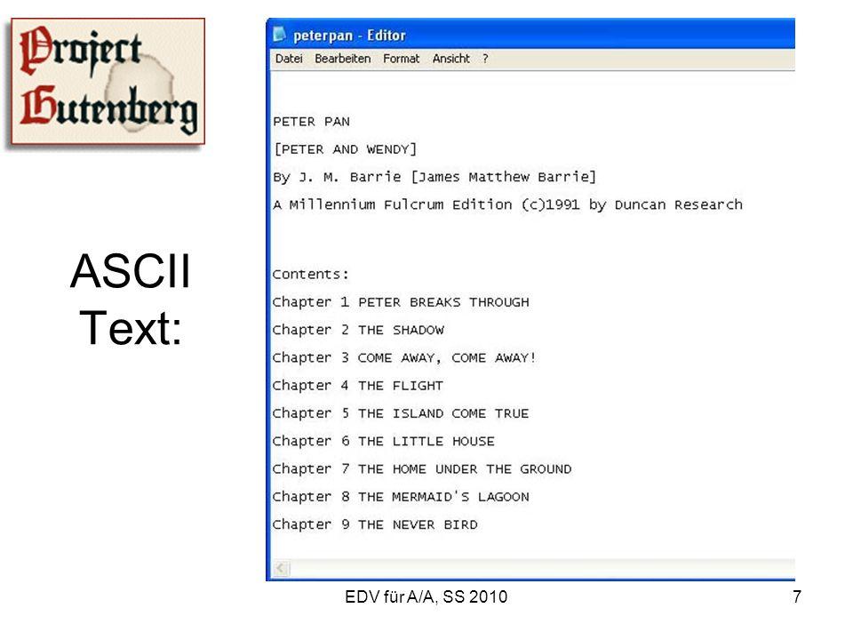 EDV für A/A, SS 201018 1.3.