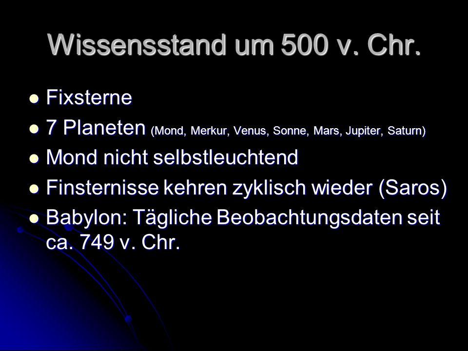 Wissensstand um 500 v. Chr. Fixsterne Fixsterne 7 Planeten (Mond, Merkur, Venus, Sonne, Mars, Jupiter, Saturn) 7 Planeten (Mond, Merkur, Venus, Sonne,
