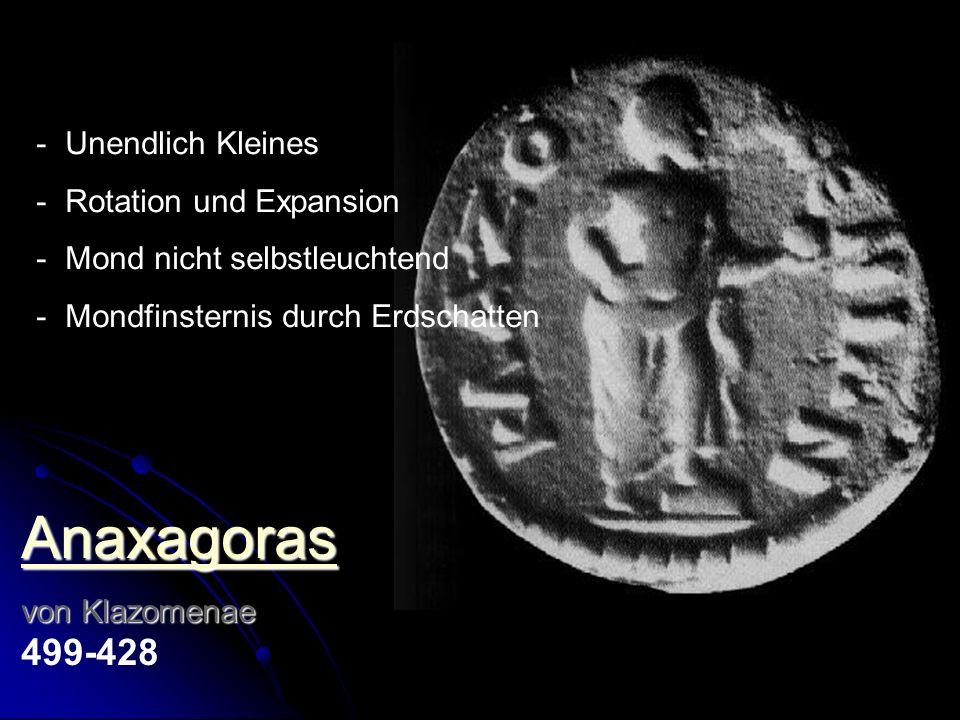 Anaxagoras von Klazomenae von Klazomenae 499-428 - Unendlich Kleines - Rotation und Expansion - Mond nicht selbstleuchtend - Mondfinsternis durch Erds