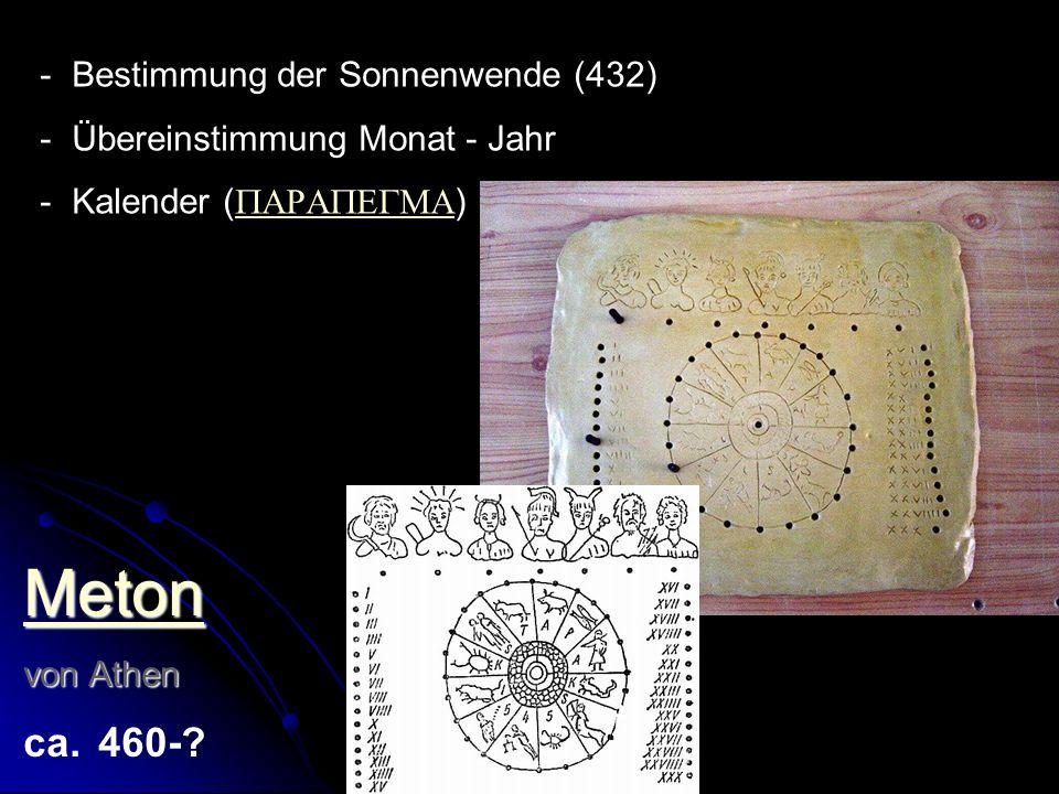 Meton von Athen von Athen ca. 460-? - Bestimmung der Sonnenwende (432) - Übereinstimmung Monat - Jahr - Kalender ( )