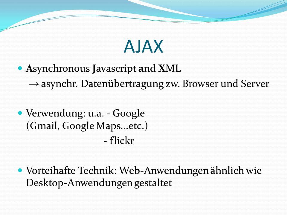 AJAX Asynchronous Javascript and XML asynchr.Datenübertragung zw.