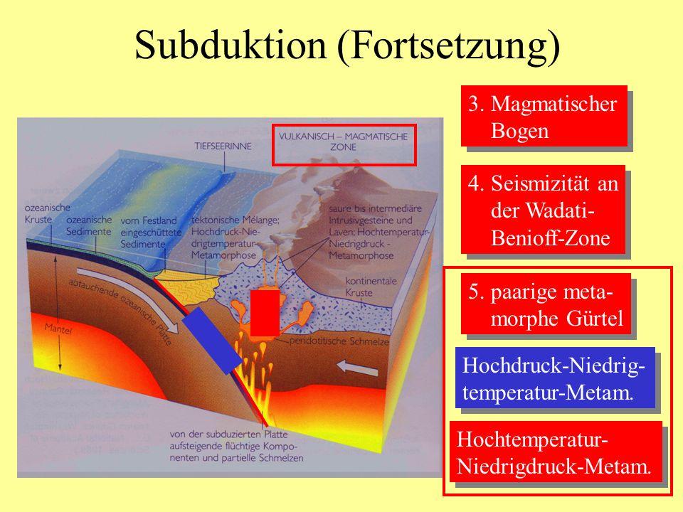 Subduktion (Fortsetzung) 3. Magmatischer Bogen 3. Magmatischer Bogen 4. Seismizität an der Wadati- Benioff-Zone 4. Seismizität an der Wadati- Benioff-