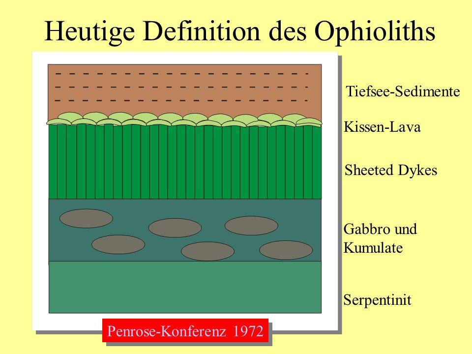 Heutige Definition des Ophioliths Tiefsee-Sedimente Kissen-Lava Sheeted Dykes Gabbro und Kumulate Serpentinit Penrose-Konferenz 1972