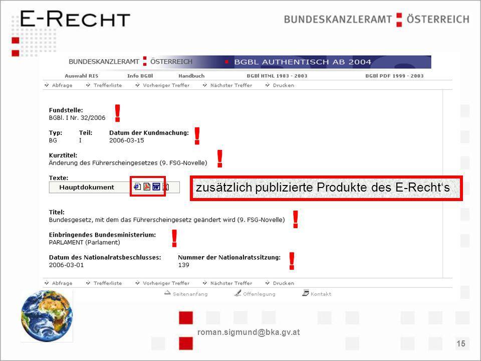 roman.sigmund@bka.gv.at 15 zusätzlich publizierte Produkte des E-Rechts