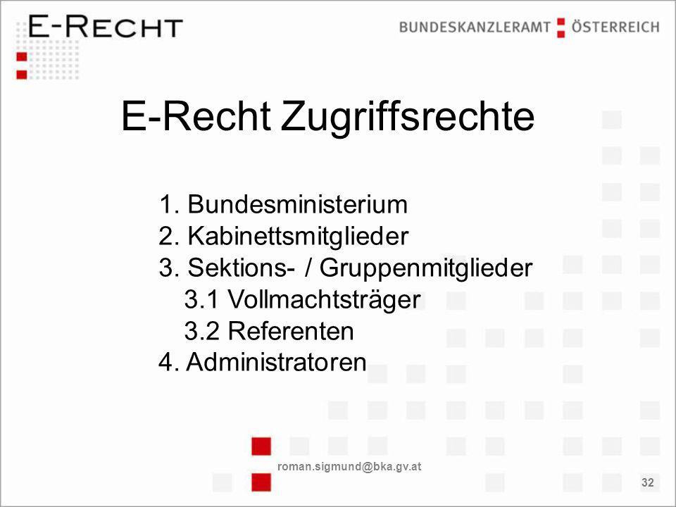 roman.sigmund@bka.gv.at 32 E-Recht Zugriffsrechte 1.