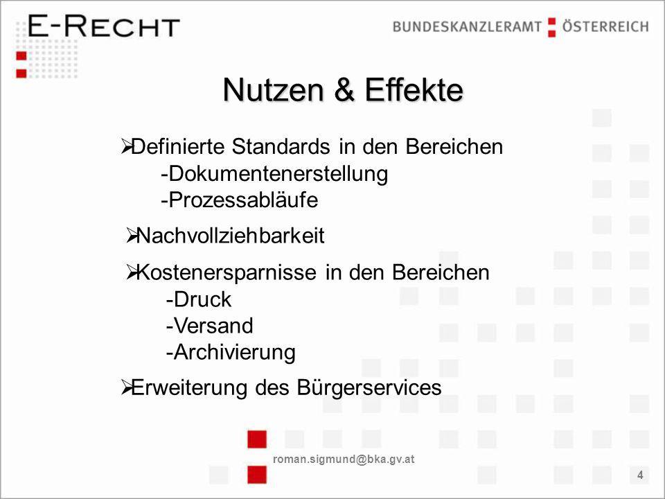 roman.sigmund@bka.gv.at 4 Definierte Standards in den Bereichen -Dokumentenerstellung -Prozessabläufe Nutzen & Effekte Nachvollziehbarkeit Kostenersparnisse in den Bereichen -Druck -Versand -Archivierung Erweiterung des Bürgerservices