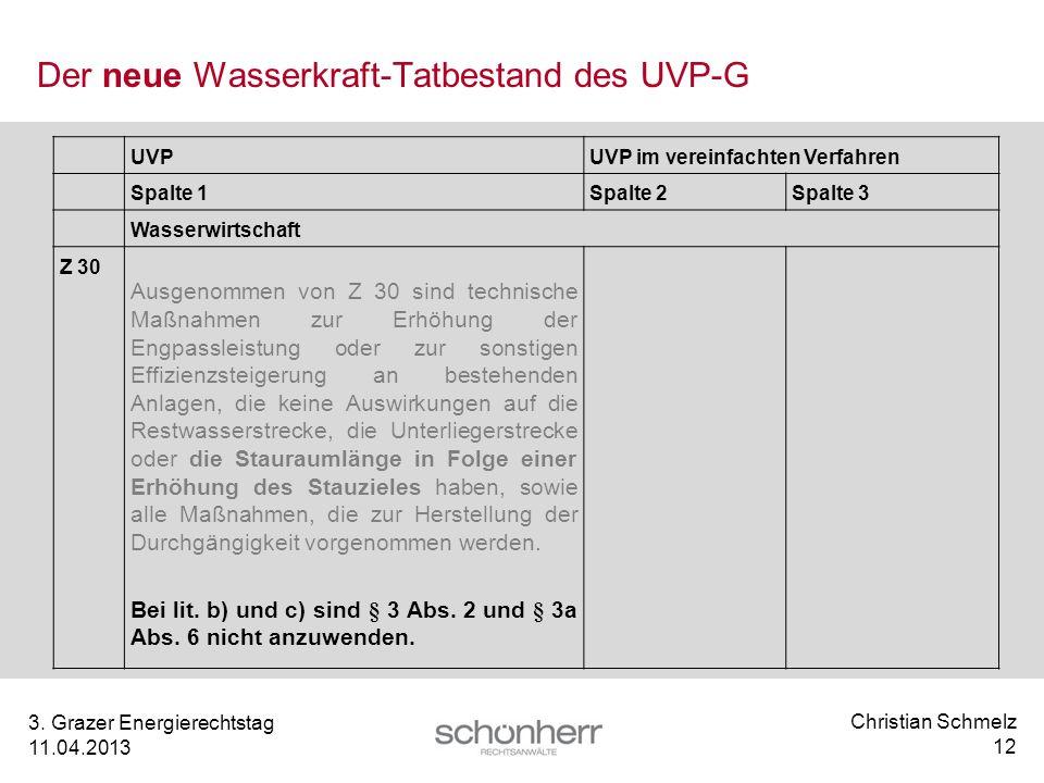 Christian Schmelz 12 3. Grazer Energierechtstag 11.04.2013 Der neue Wasserkraft-Tatbestand des UVP-G UVPUVP im vereinfachten Verfahren Spalte 1Spalte